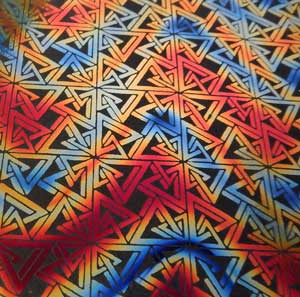 90 Pre Made Etched Pattern #062 Triangle n Squares on Thin Dichroic Glass Twizzle Candy Black