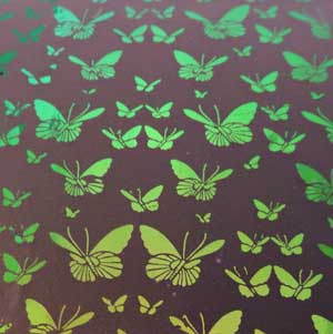 90 Pre Made Etched Pattern #094 Small Butterflys on Thin Dichroic Glass Cyan Copper on Clear