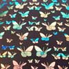 90 Pre Made Etched Pattern #094 Small Butterflys on Thin Dichroic Glass Voltage Salmon on Black