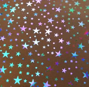 90 Pre Made Etched pattern #097 Stars on Thin Dichroic Glass PS RB2 on Black