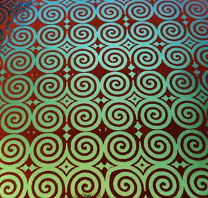 90 Pre Made Etched Pattern #121 Roman Spirals on Thin Dichroic Glass M/Green Clear