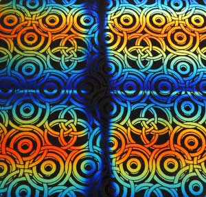 90 Pre Made Etched Pattern #030 Interlocking Circles, RBB Candy Dichroic on thin Black Glass