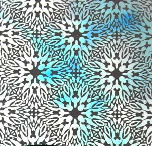 90 Pre Made Etched Pattern #046 Starburst, AB Silver Dichroic on Thin Clear Glass