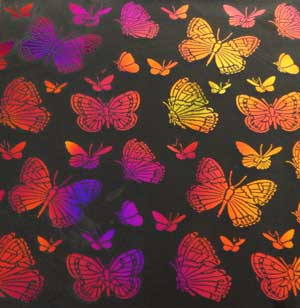 90 Pre Made Etched Pattern #093 Large Butterflys, Aurora Borealis G-Magenta Blue Dichroic on Thin Clear Glass