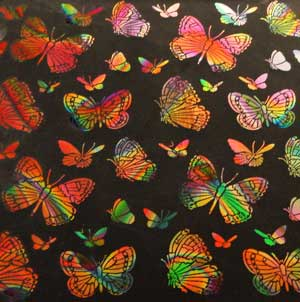 90 Pre Made Etched Pattern #093 Large Butterflys, Twizzle Mixture Dichroic on Thin Clear Glass