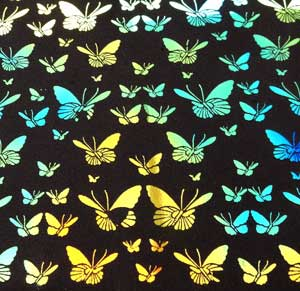 90 Pre Made Etched Pattern #094 Small Butterflys, Aurora Borealis Cyan Copper Dichroic on Thin Black Glass