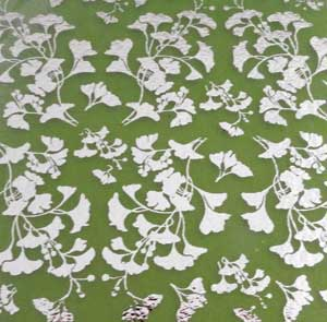 90 Pre Made Etched Pattern #104 Small Ginkgos, R-Silver Dichroic on Thin Spring Glass