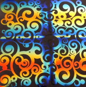 90 Pre Made Etched Pattern #109 Curls, RBB Candy Dichroic on Thin Black Glass