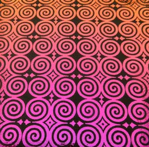 90 Pre Made Etched Pattern #121 Roman Spirals, G-Magenta Dichroic on Thin Black Glass