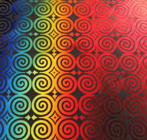 90 Pre Made Etched Pattern #121 Roman Spirals, RBD Candy Dichroic on Thin Clear Glass