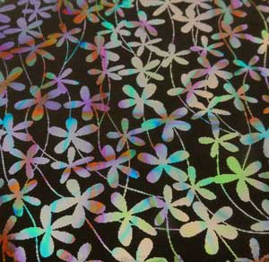 90 Pre Made Etched Pattern #164 Flower Vail, Pixie Stix Mixture Dichroic on Thin Black Glass