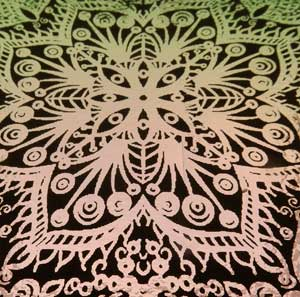90 Pre Made Etched Pattern #180 Russian Lace, Exotic G-Pink Dichroic on Thin Black Glass
