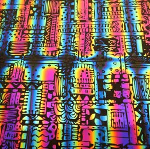 90 Pre Made Etched Pattern #196 Patchwork, RBA G-Magenta Blue Dichroic on Thin Black Glass