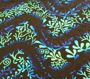 90 Pre Made Etched Pattern #198 Seaweed #1, Voltage Cyan Copper Dichroic on Thin Black Glass