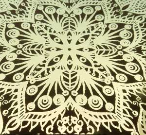 90 Pre Made Etched Pattern #180 Russian Lace, Exotic SIlver Dichroic on Thin Black Glass