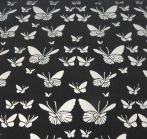 96 Pre Made Etched Pattern #094 Small Butterflys, Silver Dichroic on Thin Black Glass
