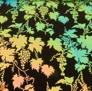 96 Pre Made Etched Pattern #095 Grapes, Aurora Borealis Salmon Dichroic on Thin Black Glass
