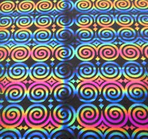 96 Pre Made Etched Pattern #121 Roman Spirals, RBA G-Magenta Blue Dichroic on Thin Black Glass