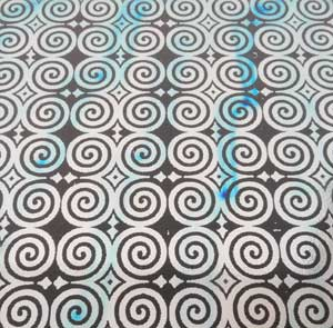 96 Pre Made Etched Pattern #121 Roman Spirals, Voltage R-Silver Blue Dichroic on Thin Clear Glass