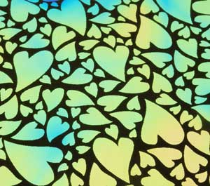 96 Pre Made Etched Pattern #153 Mixed Hearts, Aurora Borealis Cyan Copper Dichroic on Thin Black Glass