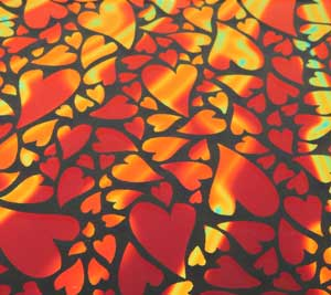 96 Pre Made Etched Pattern #153 Mixed Hearts, Voltage Candy Dichroic on Thin Clear Glass