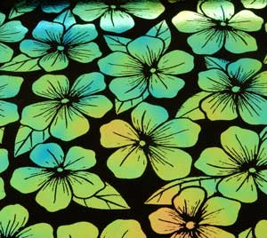 96 Pre Made Etched Pattern #159 Plumeria, Aurora Borealis G-Pink Dichroic on Thin Black Glass