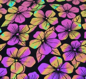 96 Pre Made Etched Pattern #159 Plumeria, Voltage G-Magenta Blue Dichroic on Thin Black Glass