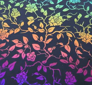 96 Pre Made Etched Pattern #166 Roses and Leaves, RBD G-Magenta Blue Dichroic on Thin Clear Glass